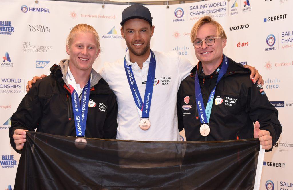 Die deutschen WM-Medaillen-Gewinner Fabian Graf, Philipp Buhl und Tim Fischer