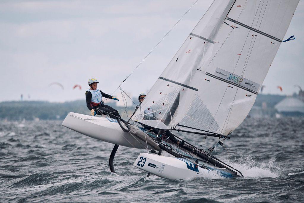 Paul Kohlhoff und Alica Stuhlemmer zeigten in Aarhus starke Einzelplatzierungen, doch Materialbruch und Kenterungen warfen die junge Crew zurück. Foto: Felix Diemer